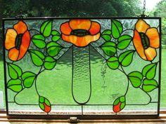 Kelling Heath Poppy Art Nouveau Craftsman Style Stained Glass Panel, window, suncatcher gift