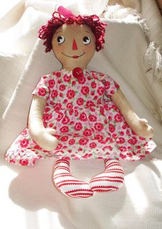 Raggedy Ann Doll in RosePrint Dress 16 Cloth by MyDisgustedCats