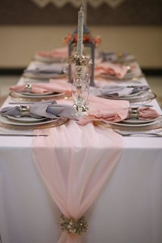 Romantic Chiffon Table Runner, Flowly Chiffon Table Runner - New Site Rose Gold Christmas Decorations, Pink Christmas, Romantic Wedding Decor, Romantic Table, Elegant Wedding, Romantic Flowers, Elegant Table, Wedding Centerpieces, Bridal Shower Table Decorations