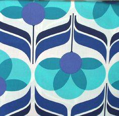 fabric - retro floral blue by JenRedInstead, via Flickr