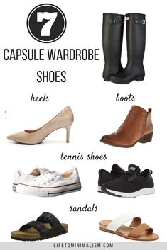 7 Perfect Capsule Wardrobe Shoes - Life to Minimalism French Minimalist Wardrobe, Minimalist Wardrobe Essentials, Minimalist Shoes, Minimalist Fashion, Capsule Wardrobe Mom, Wardrobe Sets, Shoe Wardrobe, Wardrobe Basics, Shoes Heels Boots