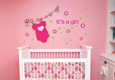 kcik1297 Full Color Wall decal over crib flower girl romper children's room nursery
