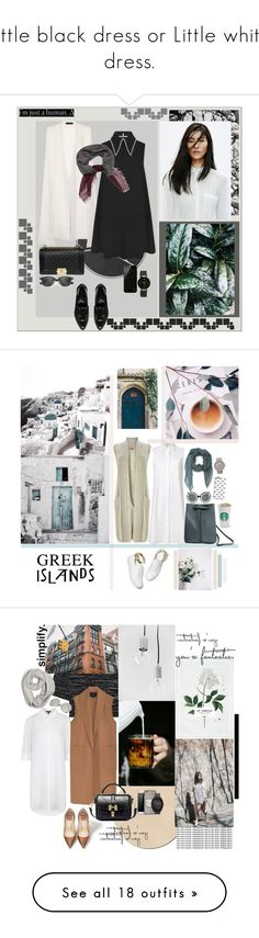 """""""Little black dress or Little white dress."""" by mariettamyan ❤ liked on Polyvore featuring WAH, J Brand, Lavish Alice, McQ by Alexander McQueen, River Island, Faliero Sarti, Ray-Ban, Belkin, Anne Klein and M. Gemi"""