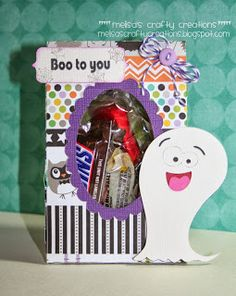 Melisa's Crafty Creations: Pretty Paper Pretty Ribbons... Oval Window Treat Bag, Sentiment Shapes & Halloween Critters,