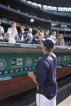 Get an autograph from a #Mariners player. In addition to catching a player at a game, fans can also send letters to Safeco Field, PO Box 4100, Seattle, WA  98194 (sending items other than letters or pictures is discouraged).