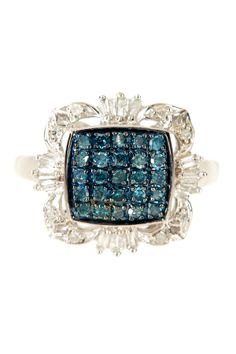 Pave Blue & White Diamond Deco Ring - 0.50 ctw