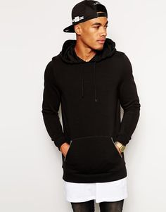 ASOS+Longline+Hoodie+With+Zip+Pockets