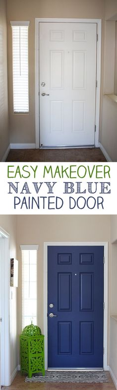 Paint both sides of your front door for a POP of color - Navy Blue Interior Pain... - http://home-painting.info/paint-both-sides-of-your-front-door-for-a-pop-of-color-navy-blue-interior-pain/