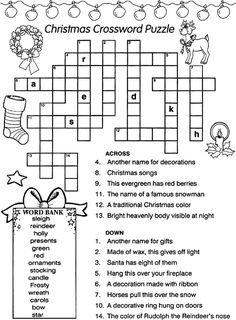 Christmas Crossword Puzzles For Kids 1 – MeFamily – art therapy activities Xmas Games, Fun Christmas Games, Christmas Puzzle, Christmas Words, Christmas Activities, Christmas Colors, Family Christmas, Christmas Traditions, Holiday Fun