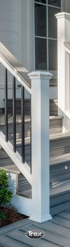 Attention to detail and the addition of a cocktail rail top in the same color as the decking: #Trex Island Mist takes a traditional railing to extraordinary style. This calm, silvery shade features realistic streaking that mimics the natural look and feel of aged tropical hardwood.