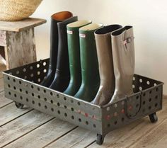 Footed Boot Tray : Remodelista This is just cool additional storage for all of the boots! Mini Loft, Boot Storage, Closet Storage, Smart Storage, Boot Tray, Out Of The Closet, Decoration Inspiration, Decor Ideas, Vestibule