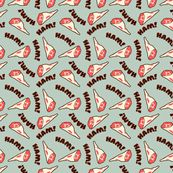 HAM! from Spoon Flower. Too funny, I would like to credit my screen-printing teacher for directly my attention to the existence of this fabric. My life is better for it. Meaning deepens if you've seen 'Ponyo'.