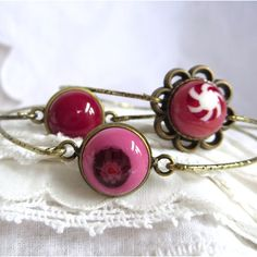 Stacking Bracelets, Set of 3 Bohemian Bangles, Fused Glass Bangles, Pink and Red Fused Glass. Pamela Angus
