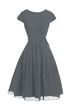 f4deaf38230 Dora Bridal Womens Sleeves Knee Length Chiffon Mother Dresses 2016 Steel  Grey     Check