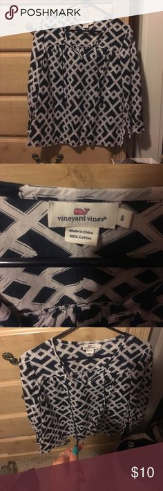 Blue and white Vineyard Vines blouse Blue and white Vineyard Vines blouse with two strings that you can tie in the front Vineyard Vines Tops Blouses