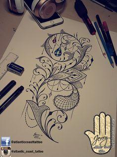 Beautiful tattoo idea design for a thigh arm leg.  Ornamental mandala style design with pretty patterns and lace jewel by dzeraldas jerry kudrevicius from Atlantic Coast tattoo.  Mandala lotus lace tattoo design