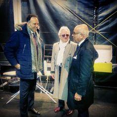 Lieti momenti di backstage prima della sfilata Arte Sartoriale 2015 ad #AltaRoma. I Maestri Accademici #LucaLitrico ed Ilario Piscioneri con il Presidente Sebastiano Di Rienzo.