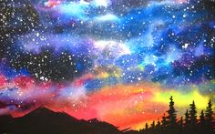 Watercolor Starry Night Sky Speed Painting