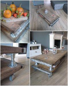 Salontafel gemaakt van steenschotten en steigerbuis - www.facebook.com/OpEigenHoutjeSR