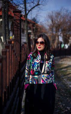 Traditional patterns going digital: digital patterns jacket, traditional patterns, romanian traditional patterns, black skirt, balloon skirt, lana dumitru jacket