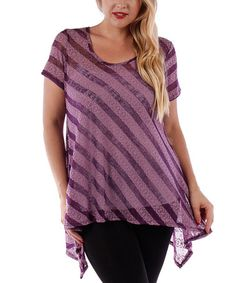 Another great find on #zulily! Purple Sheer Stripe Sidetail Top - Plus #zulilyfinds