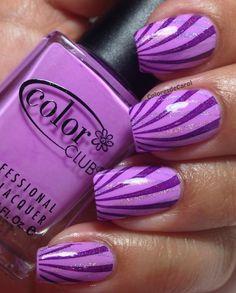 purple stripes nail design