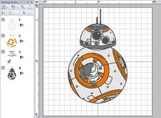 Star Wars Astromech Droid Embroidery Design in multiple formats from The Force Awakens Movie. Janome Embroidery Machine, Disney Half Marathon, Star Stitch, Custom Items, Original Image, Embroidery Designs, Bb, Star Wars, Stars