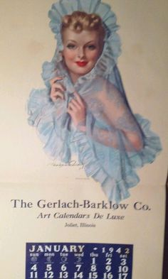 Bradshaw Cradnell 1942 Calendar Pin Up Beauty My Blue Heaven   eBay