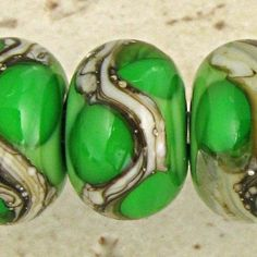 Green - Glass Lampwork Bead Set 6 11mm Silvered Ivory