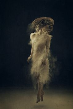 Cool idea of using smoke/dust as a dress. Multiple exposures and mannequin stand in required.