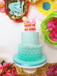 Fancy Fiesta themed birthday party with Lots of Really Fun Ideas via Kara's Party Ideas | Cake, decor, cupcakes, desserts, printables, activ...