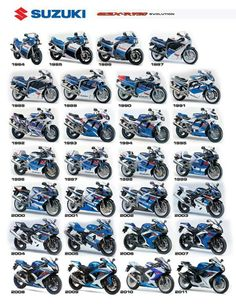 Suzuki Motorcycles GSX-R 750 evolution 1984 – 2011 looks like some awesome bikes… - Motocicleta Suzuki Motos, Suzuki Gsx R 750, Suzuki Bikes, Suzuki Motorcycle, Moto Bike, Suzuki Cafe Racer, Motorcycle Posters, Motorcycle Types, Motorcycle Bike