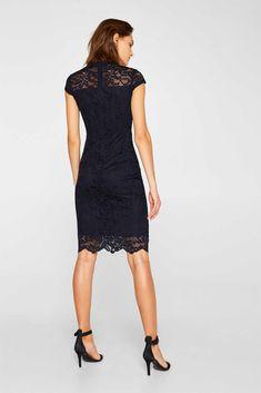 Esprit - Etui-Kleid aus Spitze mit Stretchkomfort im Online Shop kaufen Chiffon, Komplette Outfits, Models, Formal Dresses, Black, Fashion, Elegant Dresses, Night Out Outfit, Bridesmaid Dresses