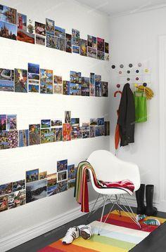 Postcard wallpaper mural designed by J. Postcard Display, Diy Postcard, Postcard Wall, Frames On Wall, Room Decor, Interior Design, Inspiration, Home, City Skylines