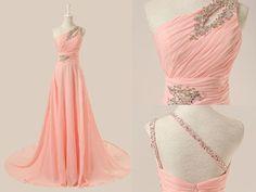 Elegant Prom Dress,Charming Prom Dress,One-Shoulder Prom Dress,Blush Pink Evening Dress by DestinyDress, $157.39 USD