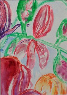 """Tangled Tulips, Watercolor on Paper, 4"""" x 6"""", 2005"""