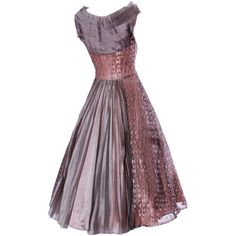 Preowned Vintage 1950s 50s Rose Lace And Pleated Silk Party Dress With... (39,915 INR) ❤ liked on Polyvore featuring dresses, red, red silk dress, red cocktail dress, purple dress, purple cocktail dresses and red dress