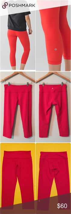 Lululemon wunder under crops Lululemon wunder under crops, size 8, gently worn and in great condition with no flaws. They are a super pretty red color(I believe it's called alarming red), they are actually reversible but still red on both sides, one side has the logo on the leg and the other side has the logo on the waistband, super soft material, moisture wicking with four way stretch, key pocket on waistband. Bundle to save ❤️ lululemon athletica Pants Ankle & Cropped