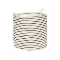 A stylish cotton storage bag in grey and white stripe from Danish design  house, HüBSCH. Perfect for laundry, storing toys, or throws.  DIMENSIONS: 40cm x 40cm
