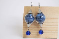 ooak blue earrings hollow glass and lampwork beads by amabito, €18.60