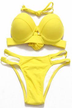 36cc416a1d7c Yellow #cutout Push Up Low Waist Balconette Bikini Set - Cobuny Camisola,  Roupa De