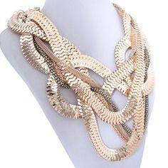 Bold Jewelry Golden Snake Shape Necklace