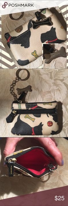"""Dooney & Bourke wallet """"SCOTTIE"""" key chain Dooney & Bourke """"Scottie"""" wallet and key chain. Great gift for a Scottie dog lover. Barely used. No sign of wear, clean. Excellent condition. 4"""" x 2 and half"""" and front, back and inside pockets 2 w/ zippers Dooney & Bourke Bags Wallets"""