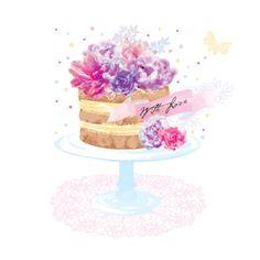 Debbie Edwards - Female Birthday Floral Cake With Flowers 2 Wedding Cake Illustrations, Congratulations Cake, Cake Background, Baby Girl Drawing, Food Art Painting, Candy Logo, Birthday Wishes Greetings, Baking Logo, Cake Logo Design