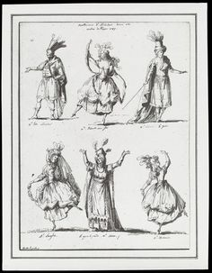 H Beard Print Collection | Moitte, Alexandre | V&A  Photograph of a pen and ink drawing by Alexandre Moitte depicting six performers in full costume in Nicholas Dezède's opera Alcindor, Paris Opera, 1787. The names of the actors and dancers are written beneath each character. They appear to be: Monsieur Luis as Alcindor, Mademoiselle Elisbeuck as a Fairy, Mr Chevoir as Le Géni, Mademoiselle Luiglois, Monsieur Shiron as le grand prétre (high priest) and Mademoiselle Zachariu.