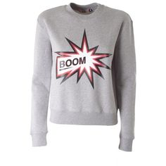 MSGM Boom printed cotton sweatshirt ($184) ❤ liked on Polyvore featuring tops, hoodies, sweatshirts, grey, cotton sweat shirts, gray top, msgm, grey top and long sleeve cotton tops