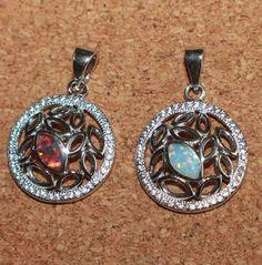 fire opal Cz necklace pendant gems silver jewelry unique chic classic cocktail A