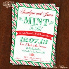 Christmas Wedding Shower Bridal Shower Invitation! Mint to Be! Peppermint Candy Cane Invitation 5x7 Printable Christmas Tea Holiday Shower