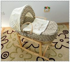 """Baby Moses Basket/Bassinet w/ rocking stand. I like that this one is 10"""" deep instead of just 6."""