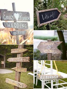 Carteles de madera para la boda